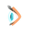 human eye with contact lense side view cartoon vector image vector image