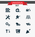 industry icons set collection of digger cogwheel vector image vector image