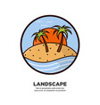 landscape scenery design with palms growing vector image
