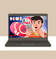 laptop with included video on it surprised boy vector image vector image
