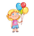 little cute girl holding colorful balloons vector image
