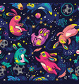moon bunnies exploring the space seamless vector image vector image