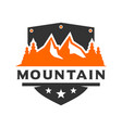 mountain scenery shield logo design vector image vector image