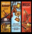 musical instrument banner classical folk music vector image