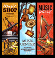 musical instrument banner of classical folk music vector image vector image