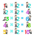 number multiplication from 2 until 10 vector image