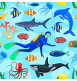 pattern with ocean animals and diver vector image vector image