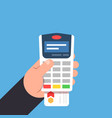 payment by bank card payment terminal in the vector image vector image