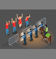 police and people isometric background vector image vector image