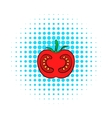 Red tomato icon comics style vector image vector image