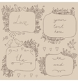 romantic set floral frames with couple vector image vector image