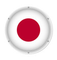 round metallic flag of japan with screws vector image