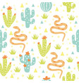 seamless pattern desert with cactuses and snakes vector image vector image