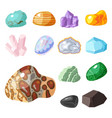 semi precious gemstones stones and mineral stone vector image vector image