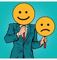Smiley facial expressions happy and sad vector image