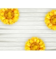 Sunflowers on wooden background EPS 10 vector image
