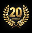 template logo twenty years anniversary vector image