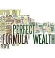 The perfect wealth formula text background word vector image