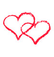 two red hearts outline romantic chalk clipart vector image vector image