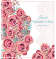 vintage roses floral card background vector image vector image