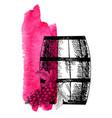 wine grape barrel and grape twig vector image vector image