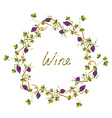 Wine label or background with vines and grape vector image