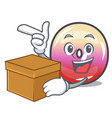 with box jelly ring candy character cartoon vector image vector image