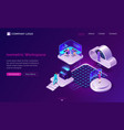 working space isometric futuristic concept vector image vector image