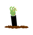 zombie hand from earth isolated halloween vector image