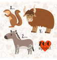Zoo alphabet with funny animals X y z letters vector image vector image