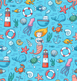 Sea life colorful seamless pattern vector image