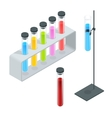 Chemical test tube pictogram icons set Erlenmeyer vector image