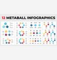 12 metaball infographics circle diagrams vector image