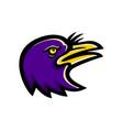 american crow head mascot vector image vector image