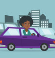 angry african woman in car stuck in traffic jam vector image vector image