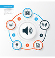 audio icons set collection of sound mike file vector image vector image