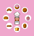 baker girl character with bread cake cupcake donut vector image vector image