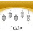 beautiful hanging lamps for ramadan kareem vector image vector image