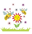 bees over flowers vector image vector image