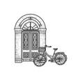 bicycle near door house sketch vector image