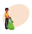black man holding bag of plastic bottles garbage vector image vector image
