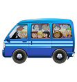 Blue van full of children vector image vector image