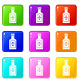 bottle of whiskey set 9 vector image vector image