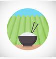bowl of rice with chopsticks flat icon vector image vector image