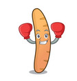 boxing baguette character cartoon style vector image
