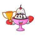 boxing winner ice cream sundae mascot cartoon vector image vector image