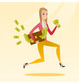 business woman with briefcase full of money vector image vector image