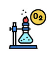 chemistry research oxygen color icon vector image vector image