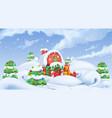 christmas background winter landscape 3d vector image