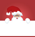 christmas card of santa claus with a sign vector image vector image